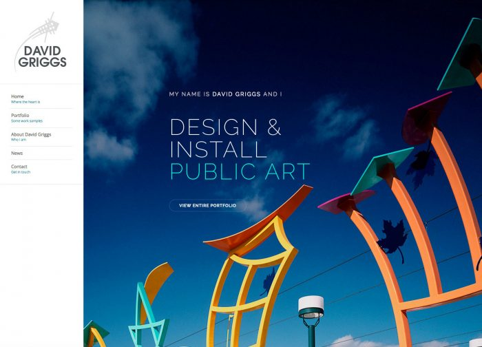 David Griggs Artist Porfolio Website Design Home Page