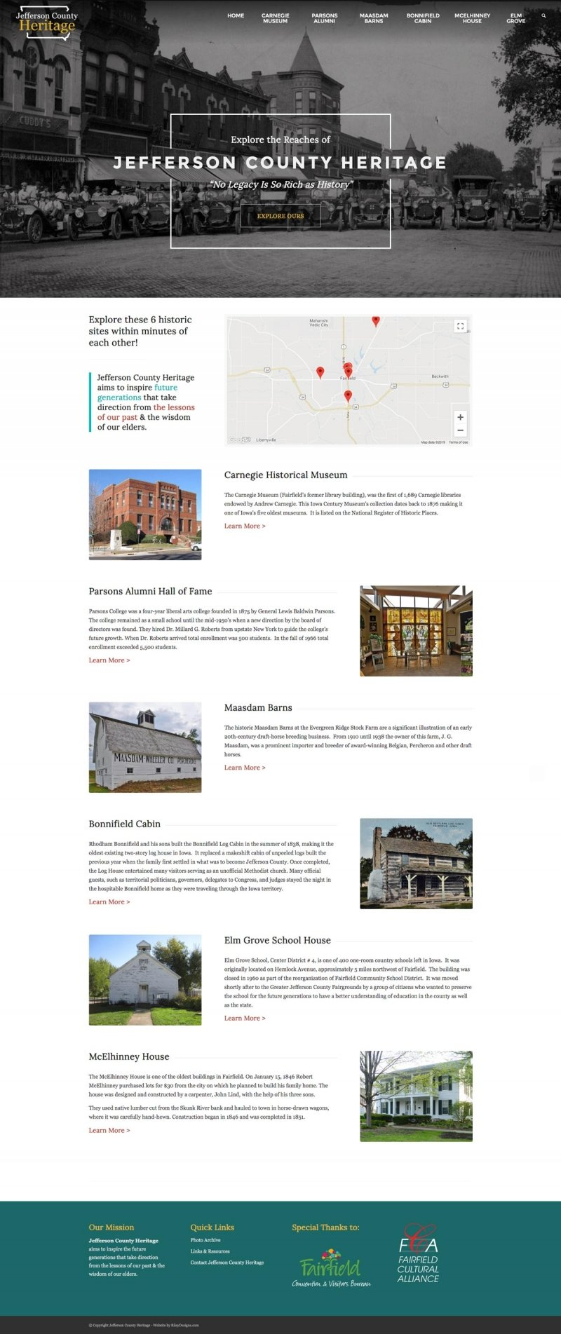 jefferson county heritage iowa website design