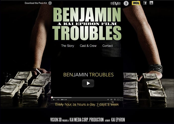 Benjamin Troubles Movie Website Design