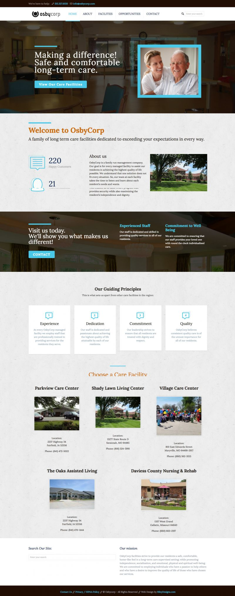 OsbyCorp home page screenshot