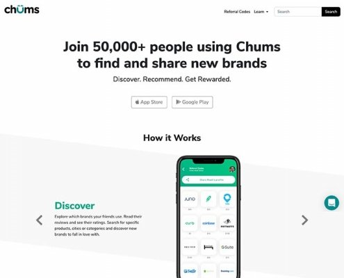 Chums Website Design Screenshot