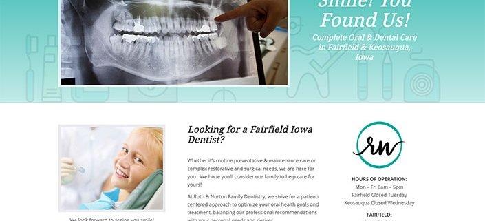 dentist website design screenshot